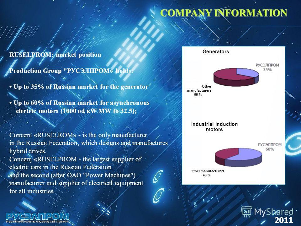 COMPANY INFORMATION RUSELPROM: market position Production Group