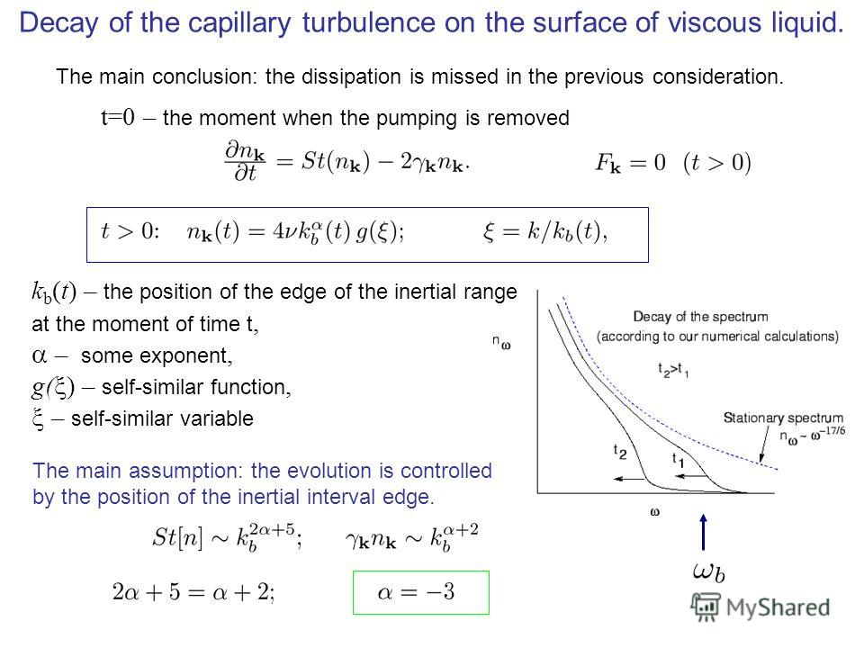 Decay of the capillary turbulence on the surface of viscous liquid. t=0 – the moment when the pumping is removed k b (t) – the position of the edge of the inertial range at the moment of time t, – some exponent, g( ) – self-similar function, – self-s
