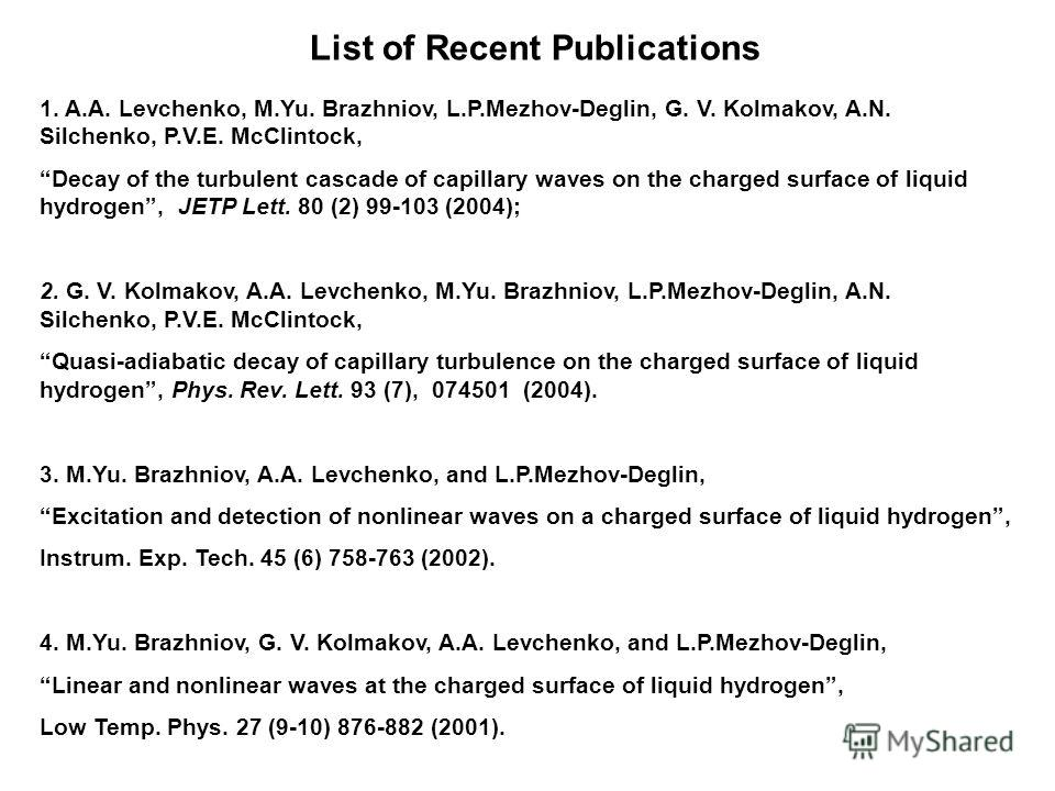 List of Recent Publications 1. A.A. Levchenko, M.Yu. Brazhniov, L.P.Mezhov-Deglin, G. V. Kolmakov, A.N. Silchenko, P.V.E. McClintock, Decay of the turbulent cascade of capillary waves on the charged surface of liquid hydrogen, JETP Lett. 80 (2) 99-10