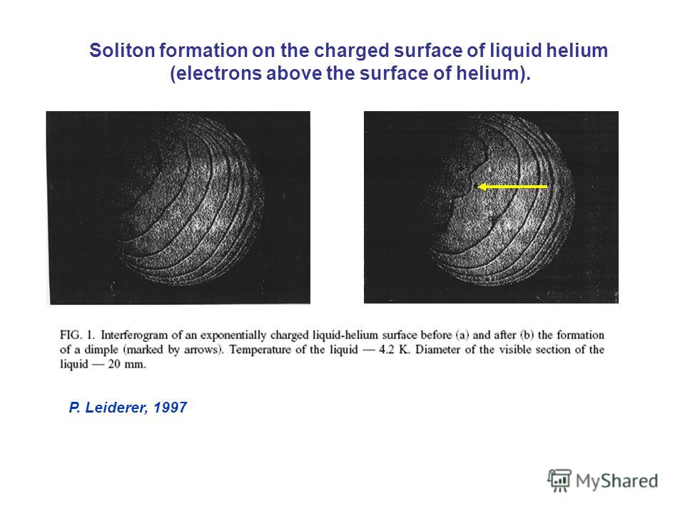 Soliton formation on the charged surface of liquid helium (electrons above the surface of helium). P. Leiderer, 1997