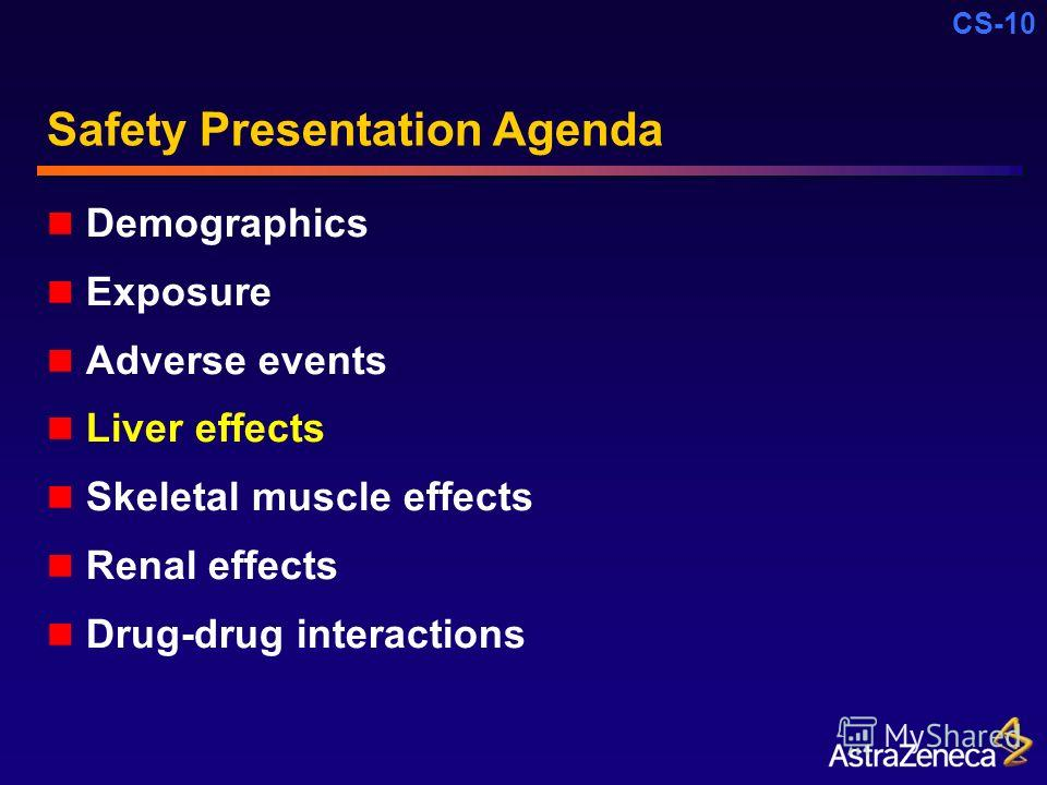 CS-10 Safety Presentation Agenda Demographics Exposure Adverse events Liver effects Skeletal muscle effects Renal effects Drug-drug interactions