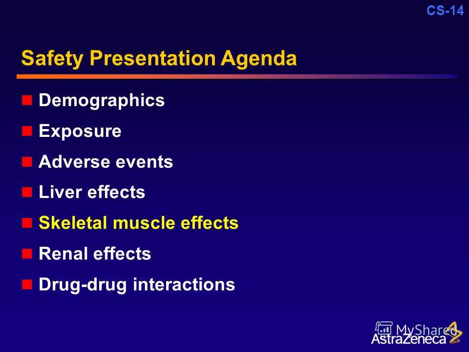 CS-14 Safety Presentation Agenda Demographics Exposure Adverse events Liver effects Skeletal muscle effects Renal effects Drug-drug interactions