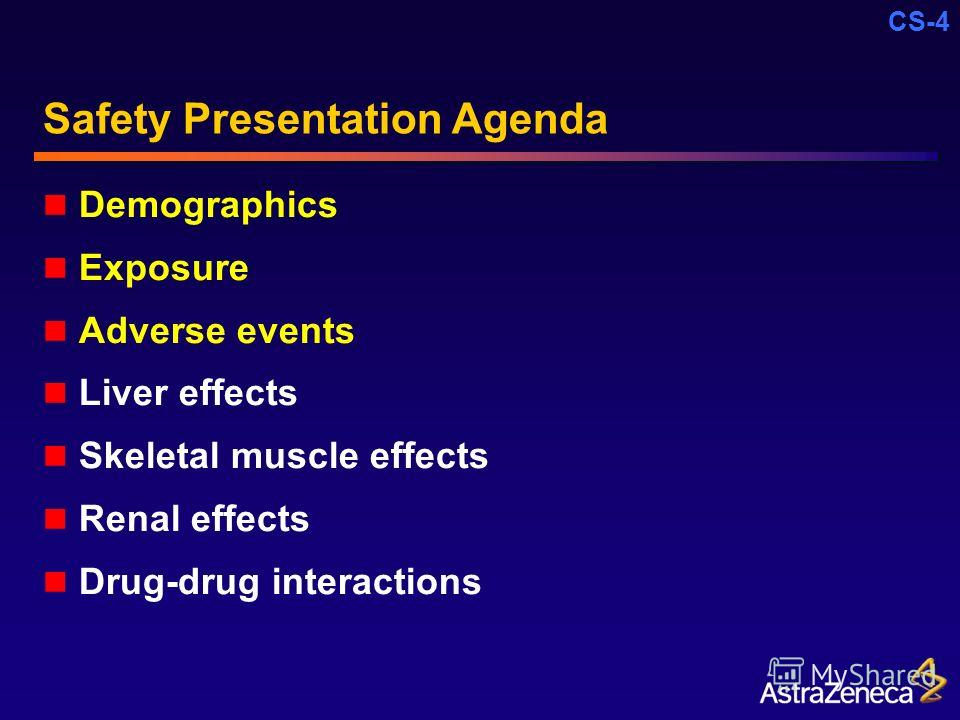CS-4 Safety Presentation Agenda Demographics Exposure Adverse events Liver effects Skeletal muscle effects Renal effects Drug-drug interactions