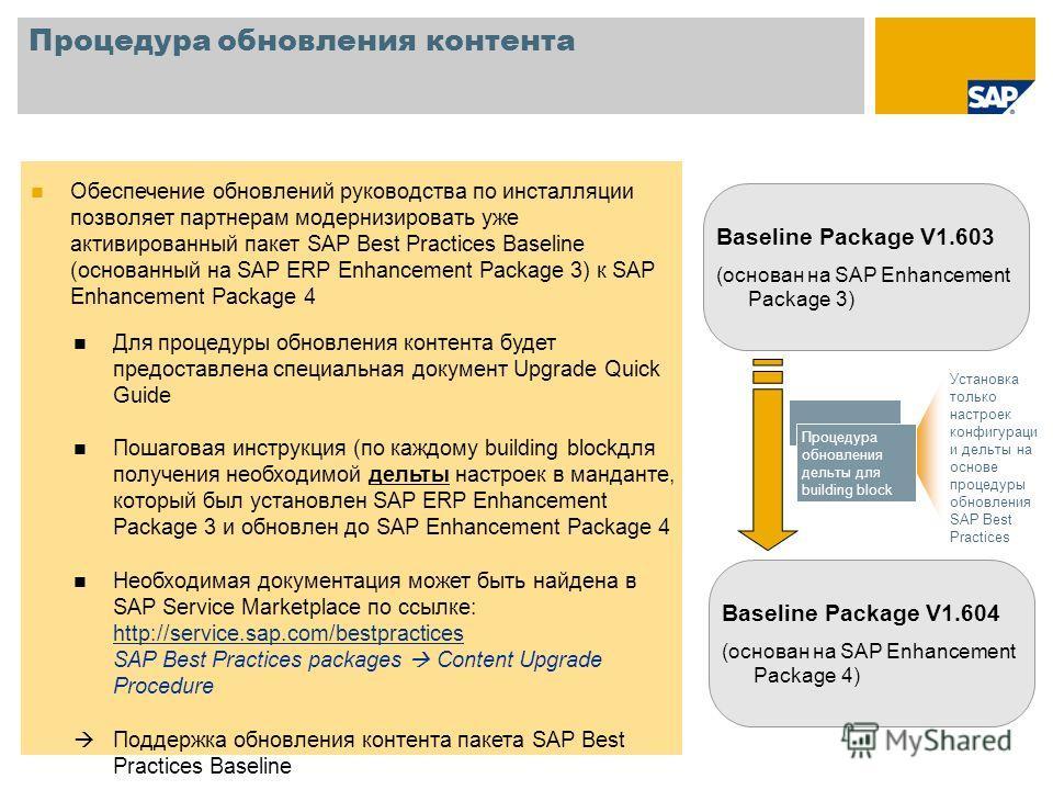 Процедура обновления контента Обеспечение обновлений руководства по инсталляции позволяет партнерам модернизировать уже активированный пакет SAP Best Practices Baseline (основанный на SAP ERP Enhancement Package 3) к SAP Enhancement Package 4 Для про
