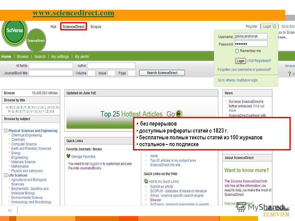 40 www.sciencedirect.com без перерывов доступные рефераты статей с 1823 г. бесплатные полные тексты статей из 100 журналов остальное – по подписке