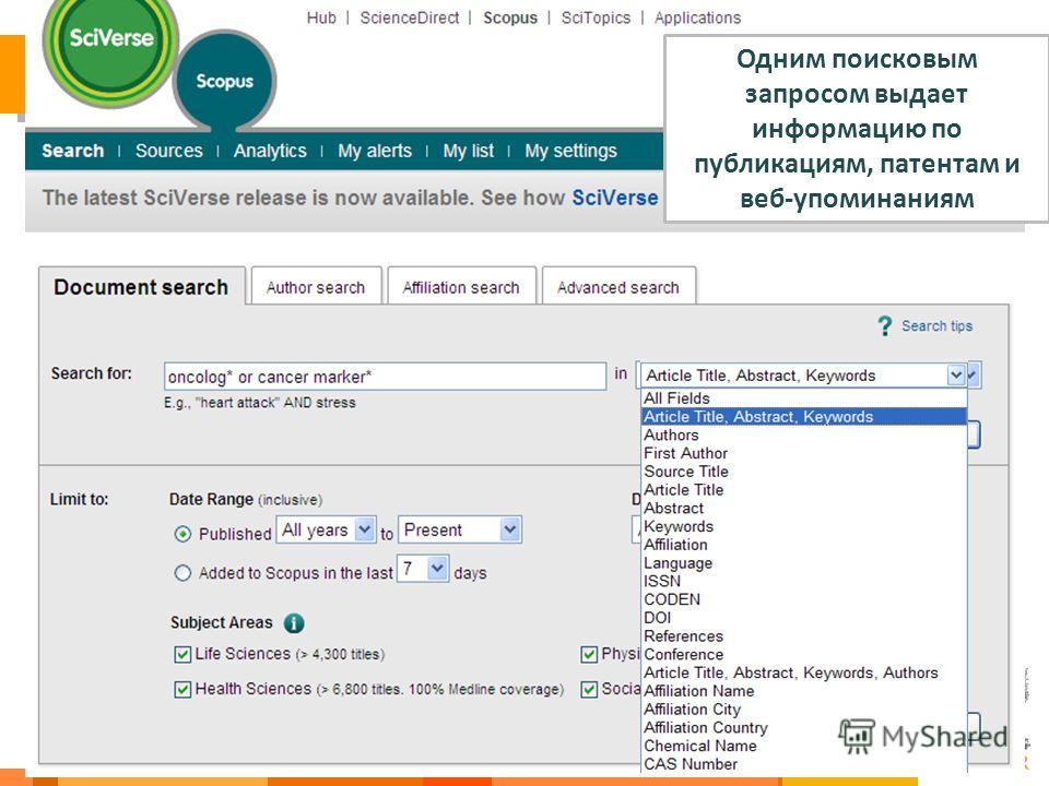44 Одним поисковым запросом выдает информацию по публикациям, патентам и веб-упоминаниям
