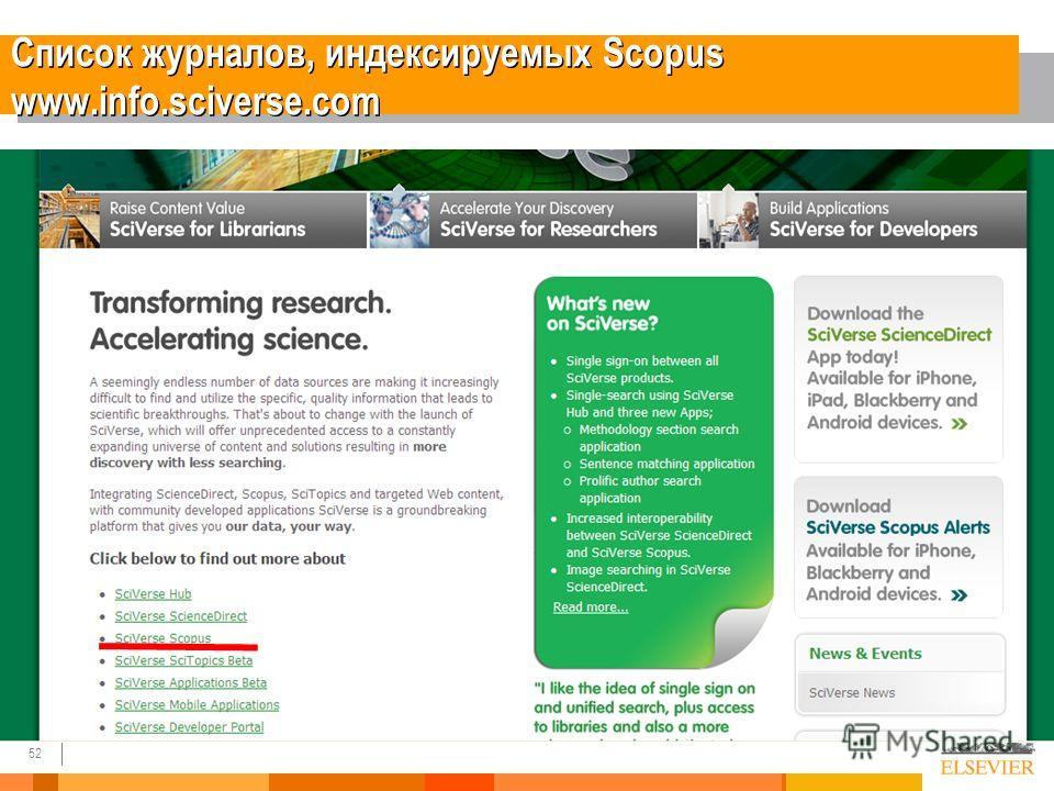 52 Список журналов, индексируемых Scopus www.info.sciverse.com
