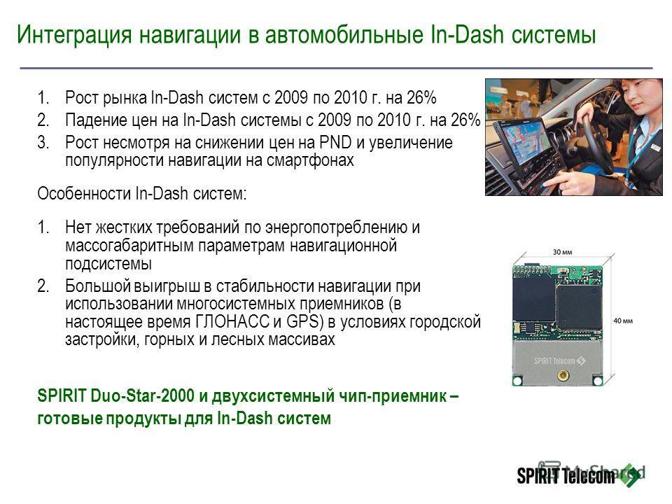 1.Рост рынка In-Dash систем с 2009 по 2010 г. на 26% 2.Падение цен на In-Dash системы с 2009 по 2010 г. на 26% 3.Рост несмотря на снижении цен на PND и увеличение популярности навигации на смартфонах Особенности In-Dash систем: 1.Нет жестких требован