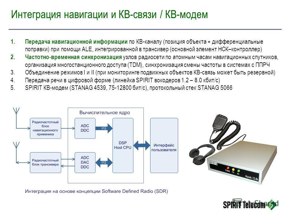 Интеграция навигации и КВ-связи / КВ-модем 1.Передача навигационной информации по КВ-каналу (позиция объекта + дифференциальные поправки) при помощи ALE, интегрированной в трансивер (основной элемент НСК–контроллер) 2.Частотно-временная синхронизация