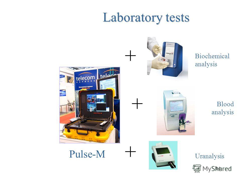 14 Laboratory tests ++++++ Biochemical analysis Blood analysis Uranalysis Pulse-M
