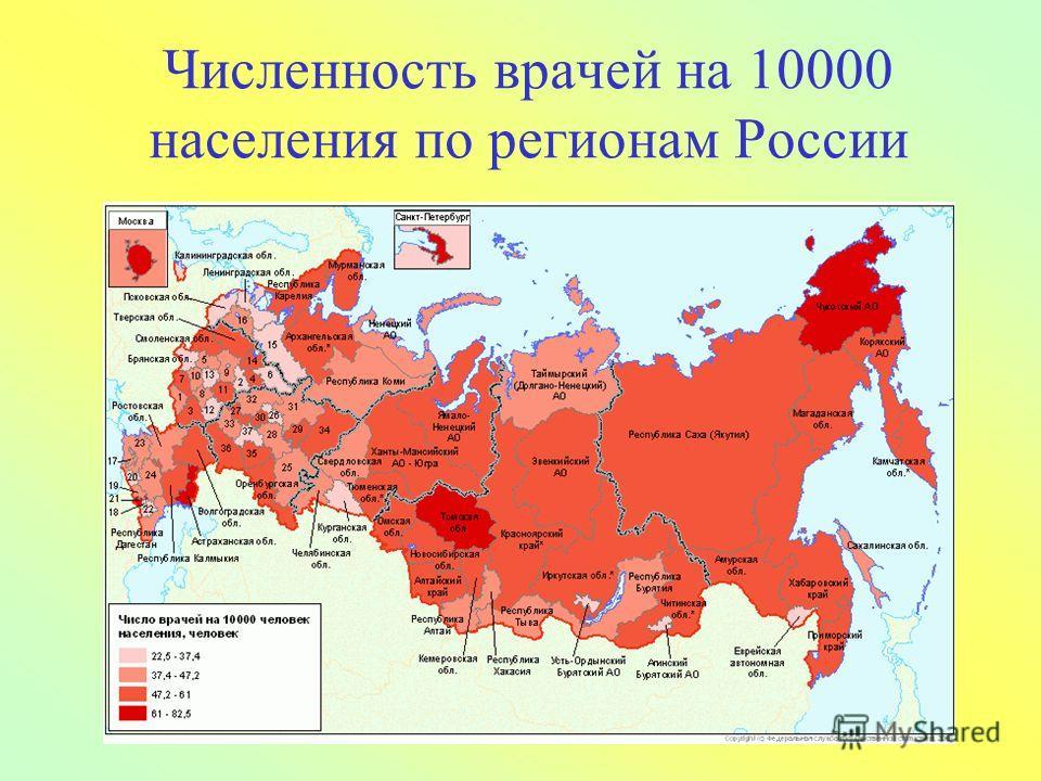9 Численность врачей на 10000 населения по регионам России