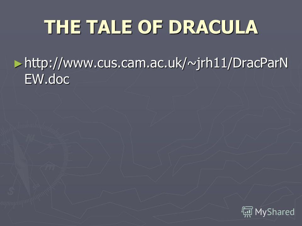 THE TALE OF DRACULA http://www.cus.cam.ac.uk/~jrh11/DracParN EW.doc http://www.cus.cam.ac.uk/~jrh11/DracParN EW.doc