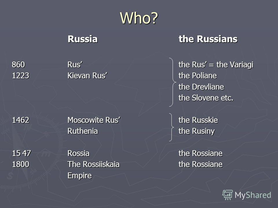 Who? Russiathe Russians 860Rusthe Rus = the Variagi 1223Kievan Rusthe Poliane the Drevliane the Slovene etc. 1462Moscowite Rusthe Russkie Rutheniathe Rusiny 1547Rossiathe Rossiane 1800The Rossiiskaiathe Rossiane Empire