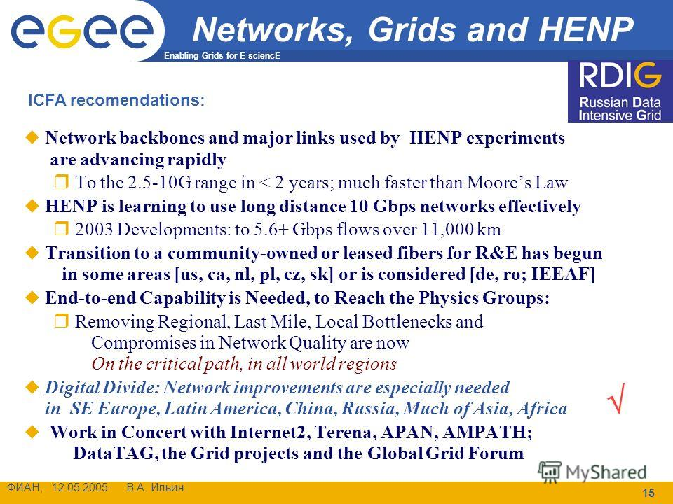 Enabling Grids for E-sciencE ФИАН, 12.05.2005 В.А. Ильин 15 Networks, Grids and HENP Network backbones and major links used by HENP experiments are advancing rapidly To the 2.5-10G range in < 2 years; much faster than Moores Law HENP is learning to u