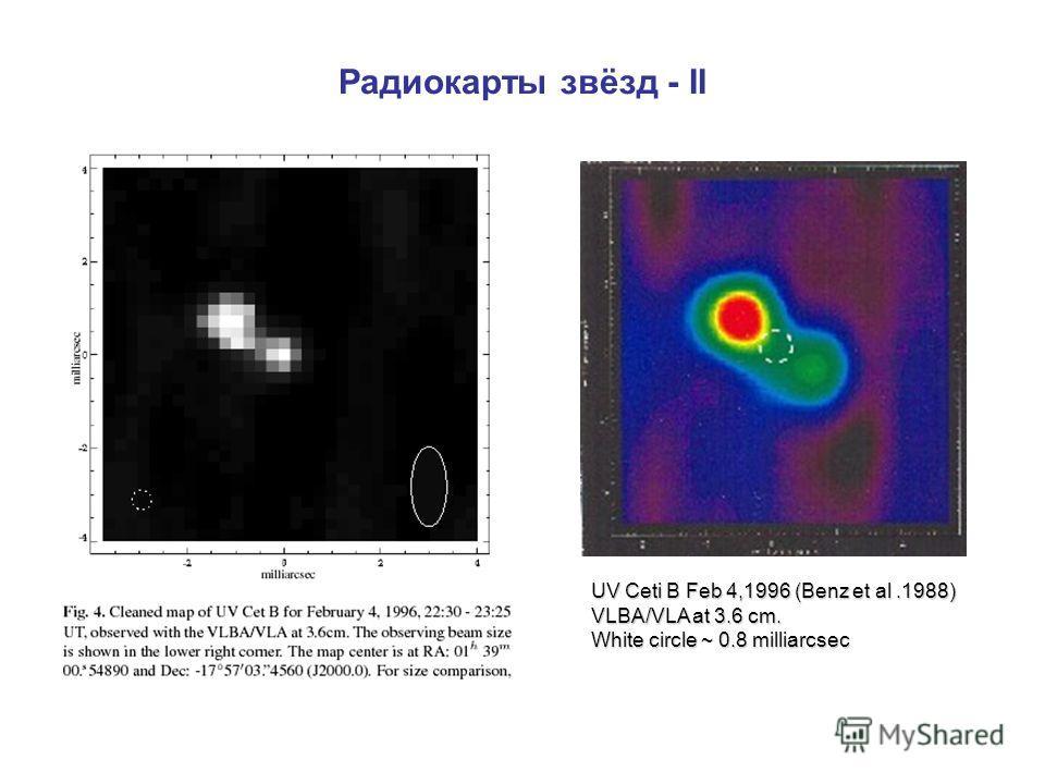 Радиокарты звёзд - II UV Ceti B Feb 4,1996 (Benz et al.1988) VLBA/VLA at 3.6 cm. White circle ~ 0.8 milliarcsec