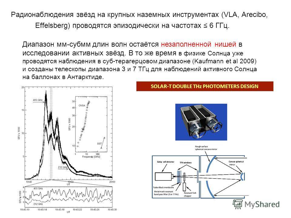 Радионаблюдения звёзд на крупных наземных инструментах (VLA, Arecibo, Effelsberg) проводятся эпизодически на частотах 6 ГГц. Диапазон мм-субмм длин волн остаётся незаполненной нишей в исследовании активных звёзд. В то же время в физике Солнца уже про