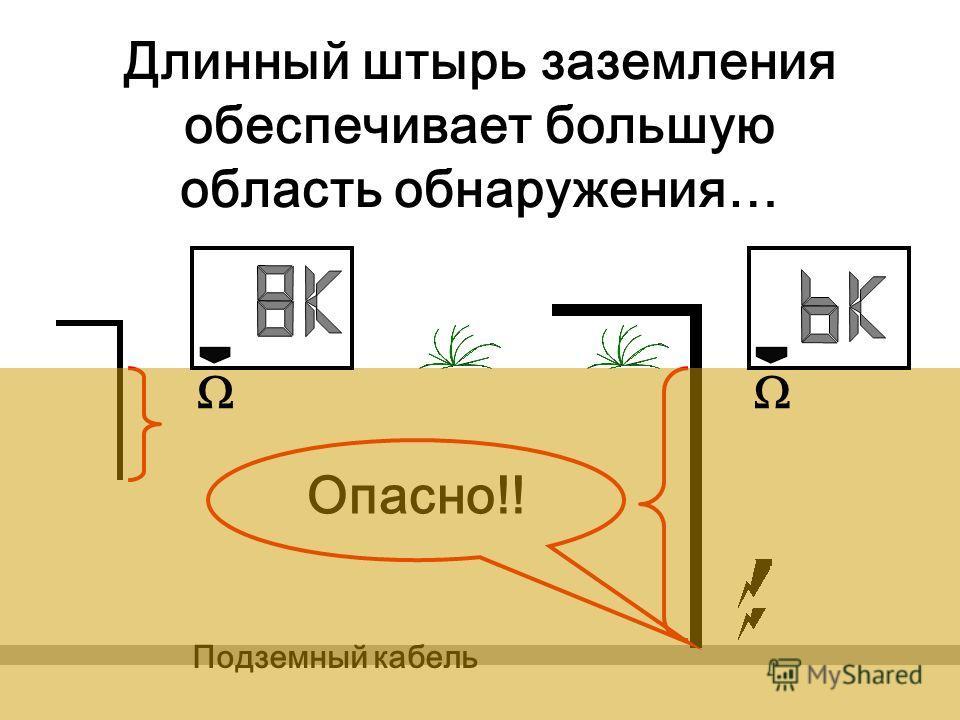 Длинный штырь заземления обеспечивает большую область обнаружения… Подземный кабель Опасно!!