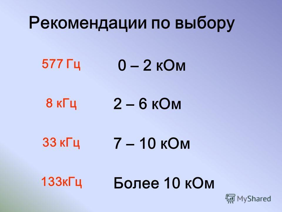 Рекомендации по выбору 0 – 2 кОм 577 Гц 2 – 6 кОм 8 кГц Более 10 кОм 133кГц 7 – 10 кОм 33 кГц