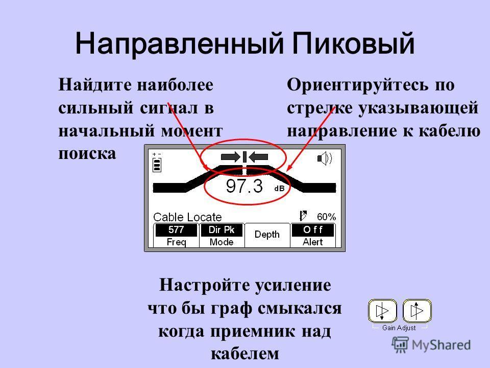 Направленный Пиковый Ориентируйтесь по стрелке указывающей направление к кабелю Найдите наиболее сильный сигнал в начальный момент поиска Настройте усиление что бы граф смыкался когда приемник над кабелем