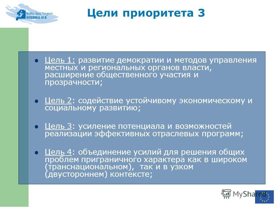 Цели приоритета 3 Цель 1: развитие демократии и методов управления местных и региональных органов власти, расширение общественного участия и прозрачности; Цель 2: содействие устойчивому экономическому и социальному развитию; Цель 3: усиление потенциа
