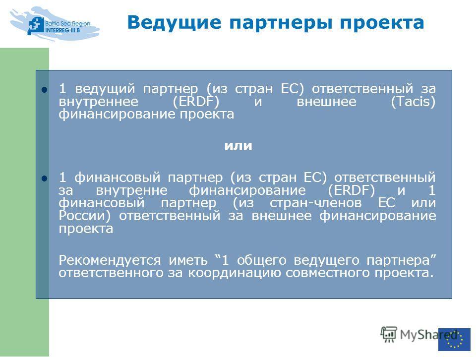 Ведущие партнеры проекта 1 ведущий партнер (из стран ЕС) ответственный за внутреннее (ERDF) и внешнее (Tacis) финансирование проекта или 1 финансовый партнер (из стран ЕС) ответственный за внутренне финансирование (ERDF) и 1 финансовый партнер (из ст