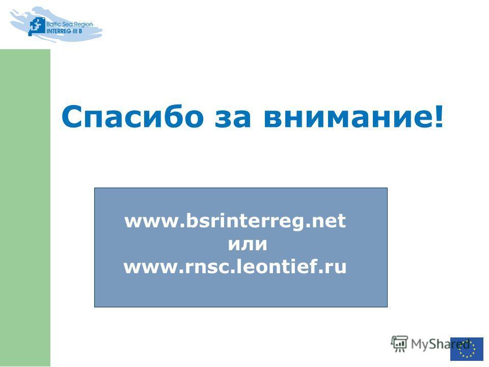 Спасибо за внимание! www.bsrinterreg.net или www.rnsc.leontief.ru