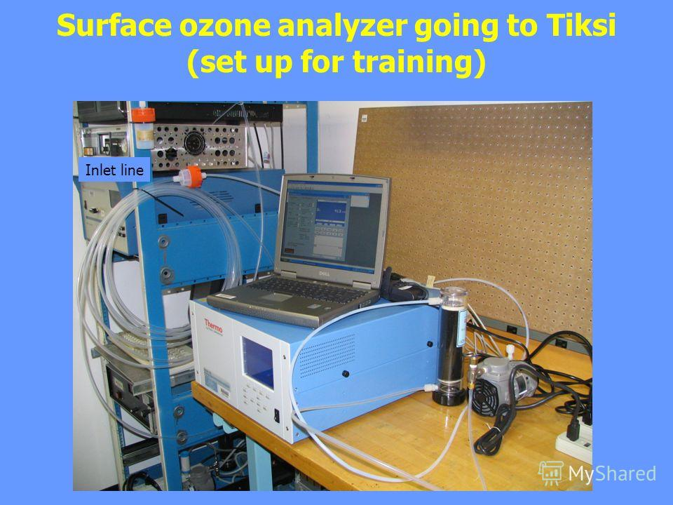 Surface ozone analyzer going to Tiksi (set up for training) Inlet line