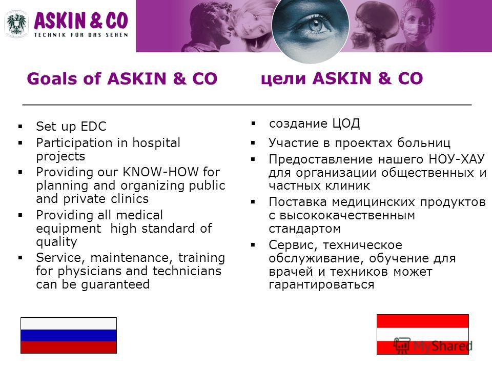 Goals of ASKIN & CO Set up EDC Participation in hospital projects Providing our KNOW-HOW for planning and organizing public and private clinics Providing all medical equipment high standard of quality Service, maintenance, training for physicians and