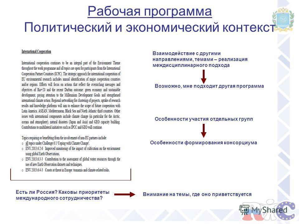 Рабочая программа Политический и экономический контекст Есть ли Россия? Каковы приоритеты международного сотрудничества? Внимание на темы, где оно приветствуется Взаимодействие с другими направлениями, темами – реализация междисциплинарного подхода В