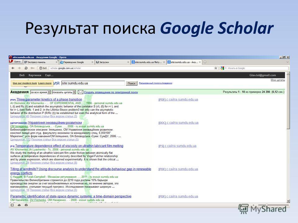 Результат поиска Google Scholar