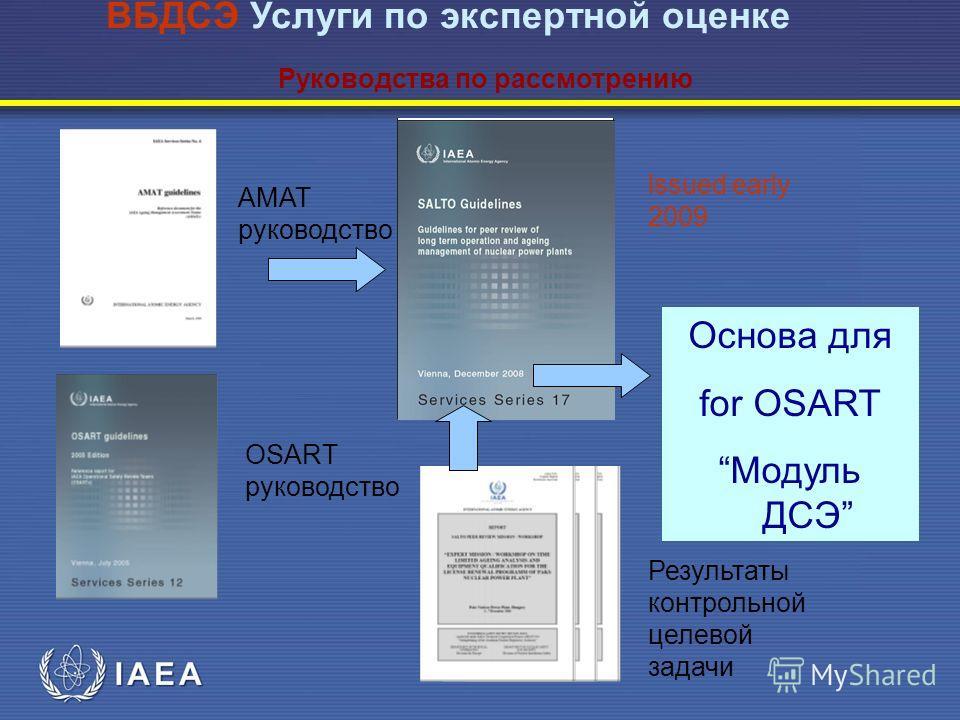 AMAT руководство OSART руководство Результаты контрольной целевой задачи ВБДСЭ Услуги по экспертной оценке Руководства по рассмотрению lssued early 2009 Основа для for OSART Модуль ДСЭ