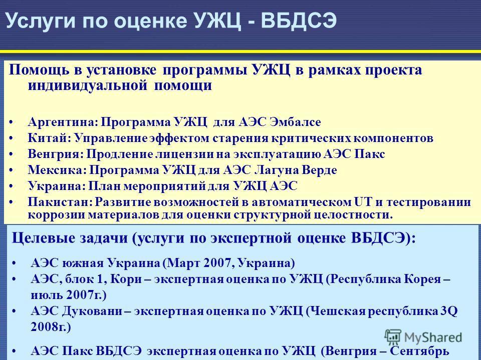 28 Услуги по оценке УЖЦ - ВБДСЭ Целевые задачи (услуги по экспертной оценке ВБДСЭ): АЭС южная Украина (Март 2007, Украина) АЭС, блок 1, Кори – экспертная оценка по УЖЦ (Республика Корея – июль 2007г.) АЭС Дуковани – экспертная оценка по УЖЦ (Чешская