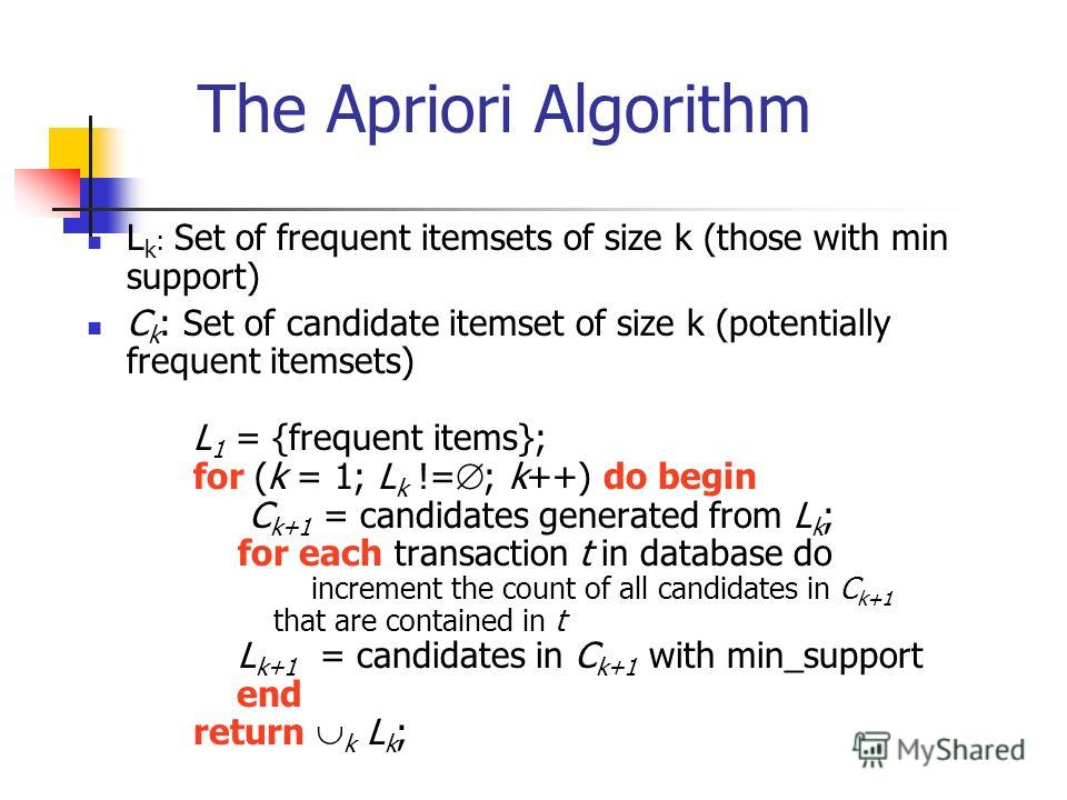 The Apriori Algorithm L k : Set of frequent itemsets of size k (those with min support) C k : Set of candidate itemset of size k (potentially frequent itemsets) L 1 = {frequent items}; for (k = 1; L k != ; k++) do begin C k+1 = candidates generated f