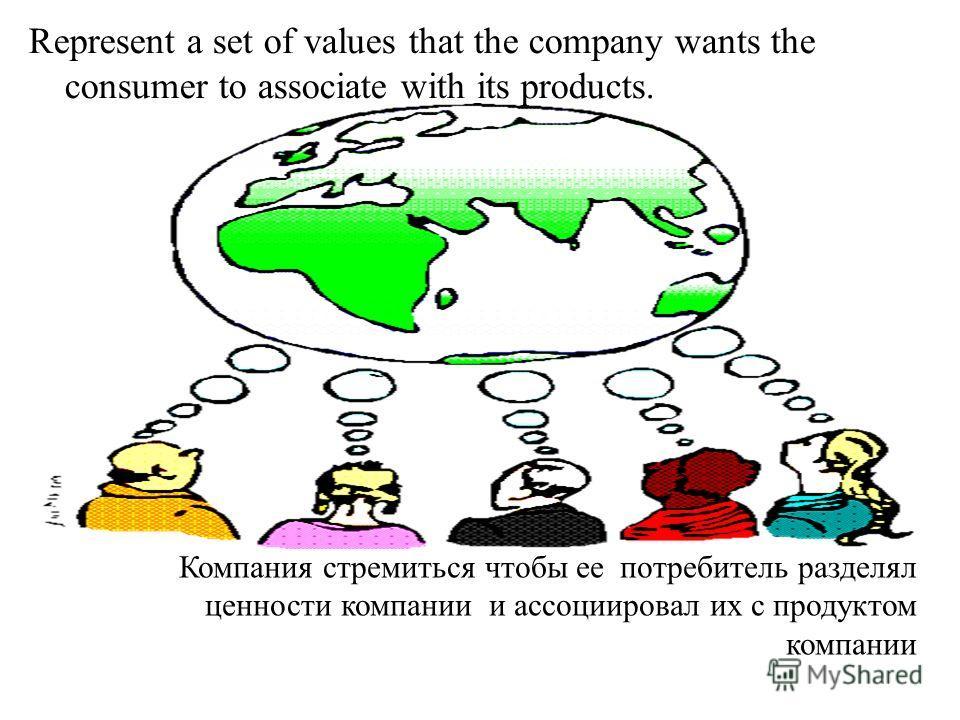 Represent a set of values that the company wants the consumer to associate with its products. Компания стремиться чтобы ее потребитель разделял ценности компании и ассоциировал их с продуктом компании