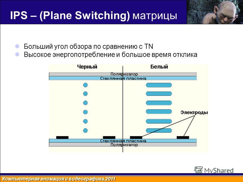 Компьютерная анимация и видеографика,2011 IPS – (Plane Switching) матрицы Больший угол обзора по сравнению с TN Высокое энергопотребление и большое время отклика