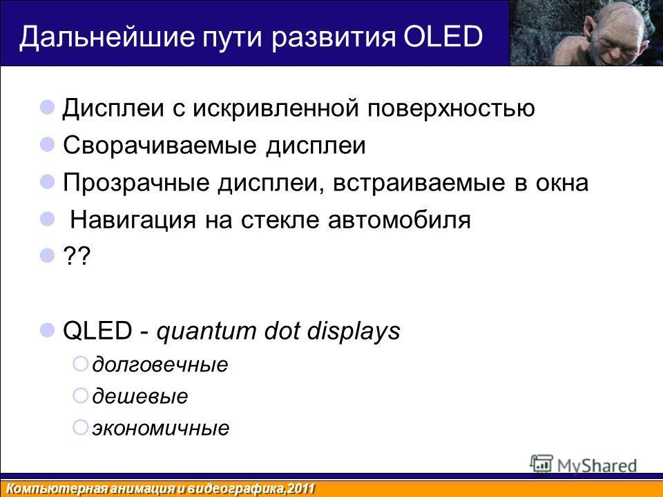 Дальнейшие пути развития OLED Дисплеи с искривленной поверхностью Сворачиваемые дисплеи Прозрачные дисплеи, встраиваемые в окна Навигация на стекле автомобиля ?? QLED - quantum dot displays долговечные дешевые экономичные