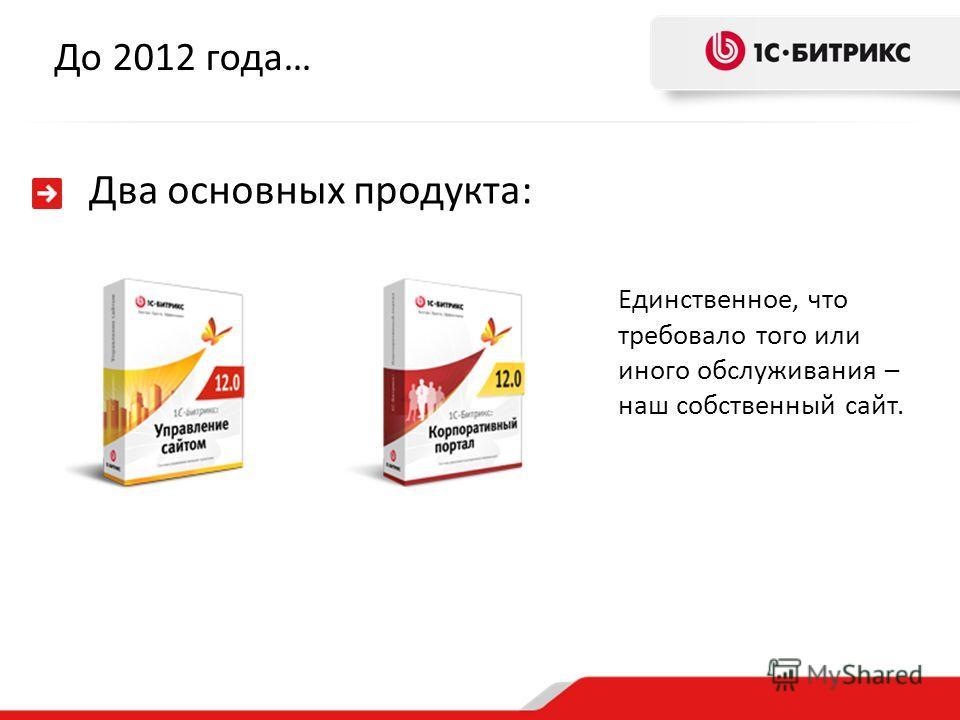 До 2012 года… Два основных продукта: Единственное, что требовало того или иного обслуживания – наш собственный сайт.