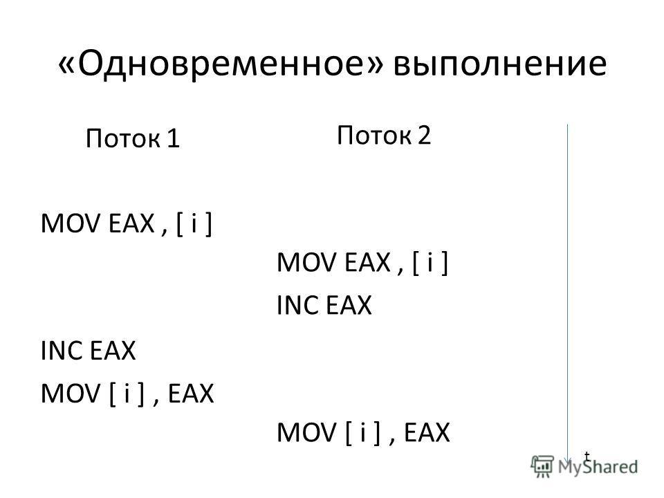 «Одновременное» выполнение Поток 1 MOV EAX, [ i ] INC EAX MOV [ i ], EAX Поток 2 MOV EAX, [ i ] INC EAX MOV [ i ], EAX t