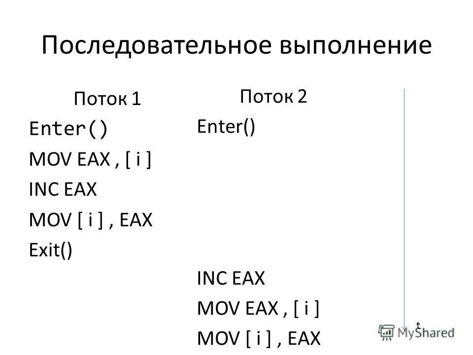 Последовательное выполнение Поток 1 Enter() MOV EAX, [ i ] INC EAX MOV [ i ], EAX Exit() Поток 2 Enter() INC EAX MOV EAX, [ i ] MOV [ i ], EAX t