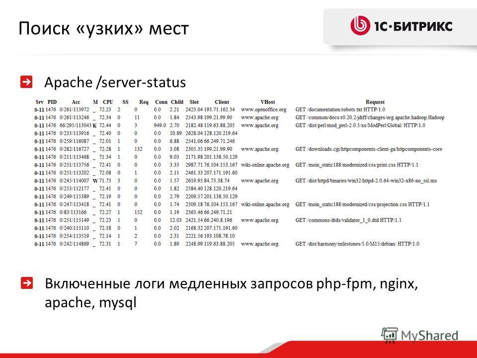Поиск «узких» мест Apache /server-status Включенные логи медленных запросов php-fpm, nginx, apache, mysql
