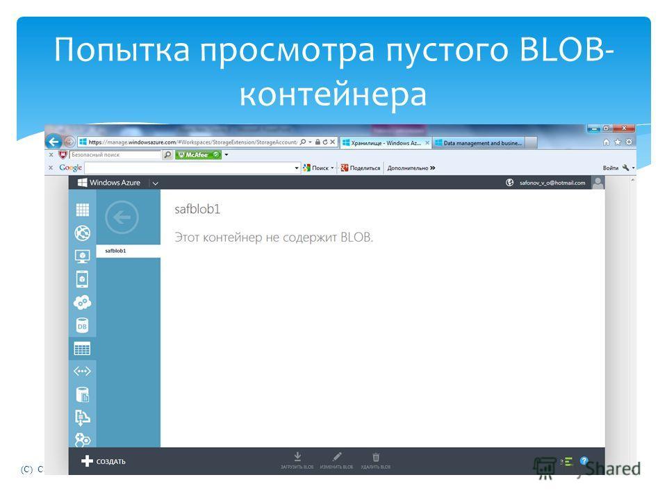 (C) Сафонов В.О. 2013 Попытка просмотра пустого BLOB- контейнера