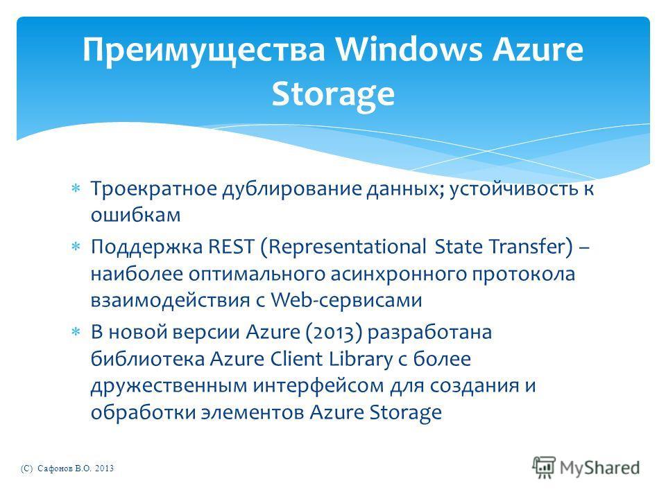 Троекратное дублирование данных; устойчивость к ошибкам Поддержка REST (Representational State Transfer) – наиболее оптимального асинхронного протокола взаимодействия с Web-сервисами В новой версии Azure (2013) разработана библиотека Azure Client Lib