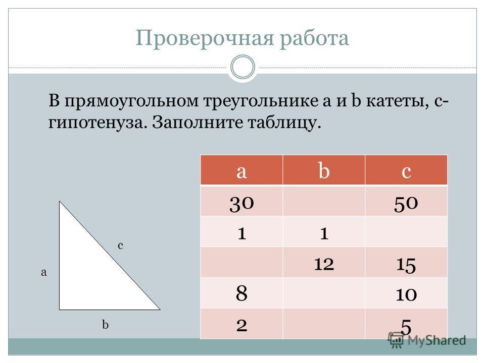 Проверочная работа В прямоугольном треугольнике a и b катеты, c- гипотенуза. Заполните таблицу. abc 3050 11 1215 810 25 с b a