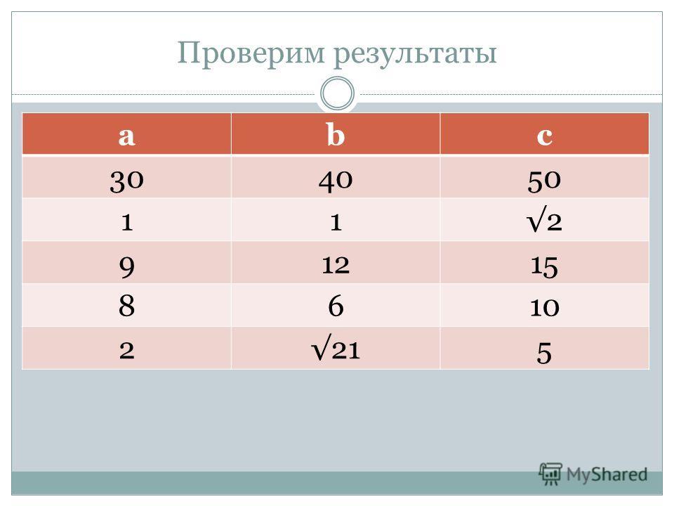 Проверим результаты abc 304050 112 91215 8610 2215