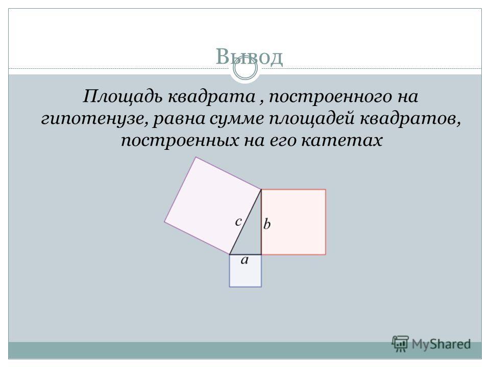 Вывод Площадь квадрата, построенного на гипотенузе, равна сумме площадей квадратов, построенных на его катетах