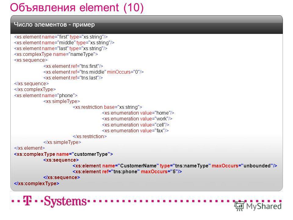 Объявления element (10) Число элементов - пример