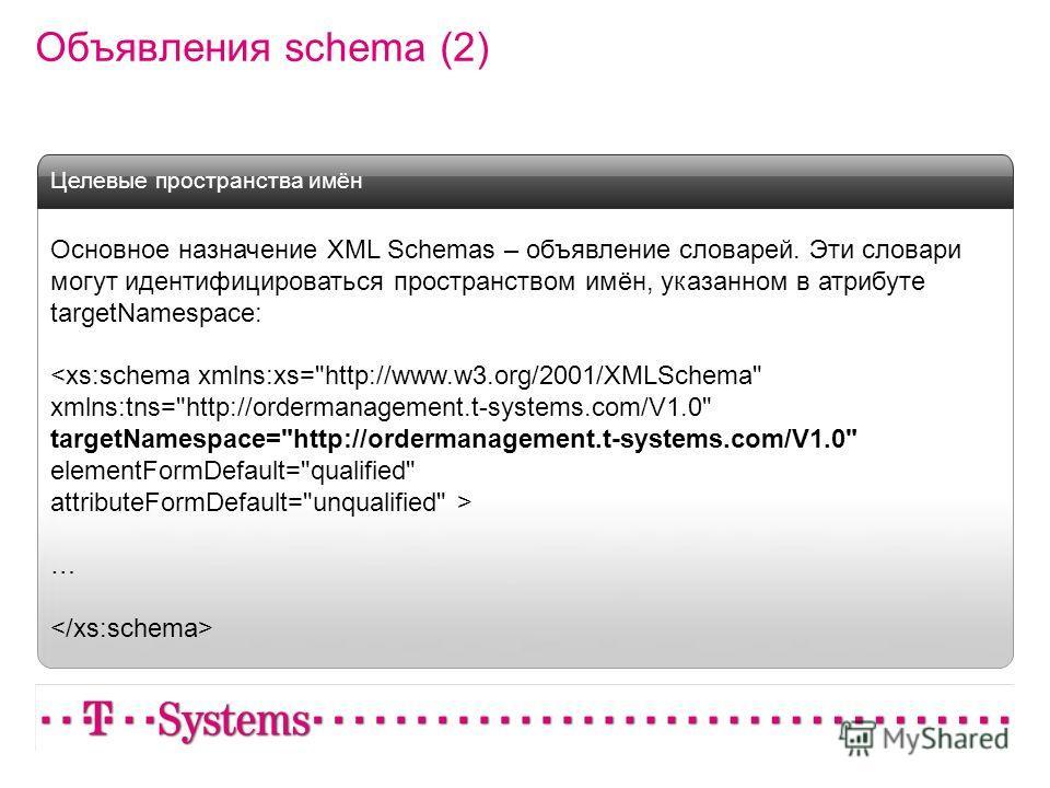 Объявления schema (2) Основное назначение XML Schemas – объявление словарей. Эти словари могут идентифицироваться пространством имён, указанном в атрибуте targetNamespace:  … Целевые пространства имён