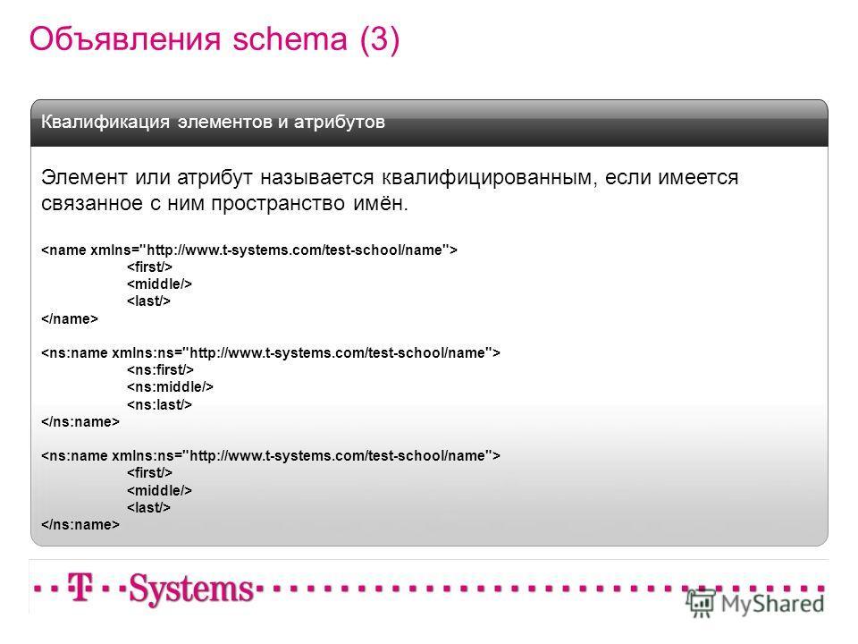 Объявления schema (3) Элемент или атрибут называется квалифицированным, если имеется связанное с ним пространство имён. Квалификация элементов и атрибутов
