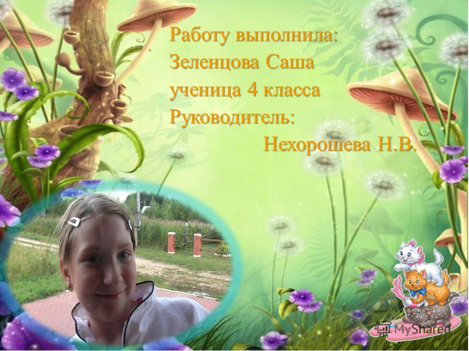 Работу выполнила: Зеленцова Саша ученица 4 класса Руководитель: Нехорошева Н.В. Нехорошева Н.В.