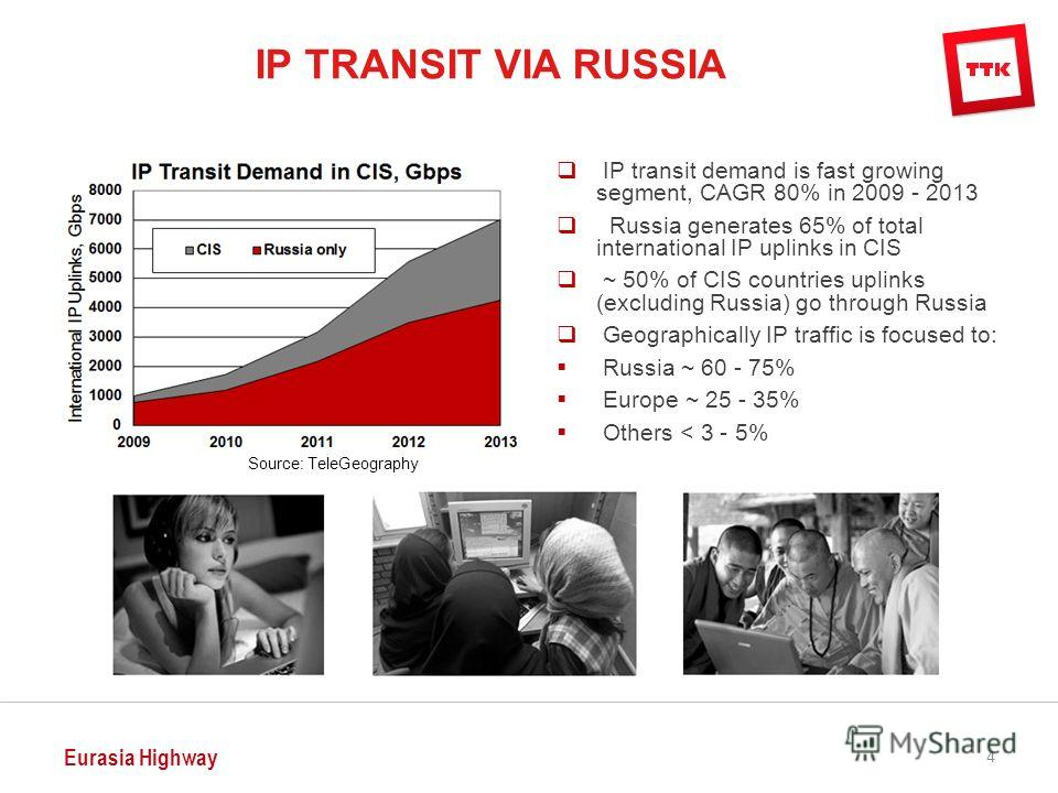 Eurasia Highway 4 IP transit demand is fast growing segment, CAGR 80% in 2009 - 2013 Russia generates 65% of total international IP uplinks in CIS ~ 50% of CIS countries uplinks (excluding Russia) go through Russia Geographically IP traffic is focuse